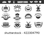 bakery logos with fresh bread ... | Shutterstock .eps vector #422304790