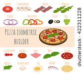 vector set of isometric food... | Shutterstock .eps vector #422311228