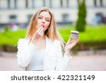 young beautiful woman with long ... | Shutterstock . vector #422321149