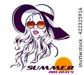 girl in sunglasses vector...   Shutterstock .eps vector #422325916