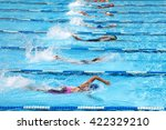 swimming pool  in a race. | Shutterstock . vector #422329210