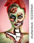 portrait of a pin up zombie... | Shutterstock . vector #422330464