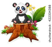cute panda sit on tree stump | Shutterstock .eps vector #422334388