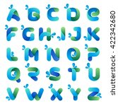 alphabet with water waves and...   Shutterstock .eps vector #422342680