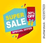 super sale vector banner. 50 ... | Shutterstock .eps vector #422357023