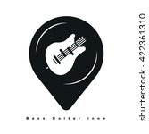 location icons with bass guitar ...