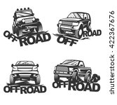 set offroad suv car monochrome... | Shutterstock .eps vector #422367676