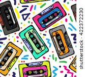 pop audio background. cassette... | Shutterstock .eps vector #422372230