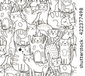 Doodle Cats Seamless Pattern....