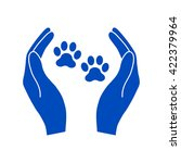 Shelter Pets Sign Icon. Hands...