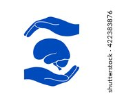 hands holding brain  ... | Shutterstock .eps vector #422383876