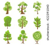 Tree logo flat cartoon decorative icons set on white background with deciduous and coniferous types trees isolated vector illustration