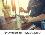 online payment man's hands... | Shutterstock . vector #422392390