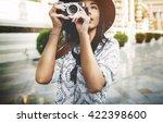 travel tourism camera... | Shutterstock . vector #422398600