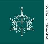 heart and sword line logo vector | Shutterstock .eps vector #422403223