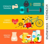 fitness horizontal banner with... | Shutterstock .eps vector #422406214