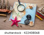 map  compass on seashell  ship... | Shutterstock . vector #422408068
