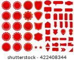 Label vector icon set red color on white background. Ribbon isolated shapes illustration of gift and accessory. Christmas sticker and decoration for app and web. Banner, badge and borders collection. | Shutterstock vector #422408344