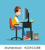 young man at the computer... | Shutterstock .eps vector #422411188
