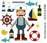 captain or sailor with... | Shutterstock .eps vector #422416588