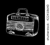 retro wooden radio. sketchy... | Shutterstock .eps vector #422418640