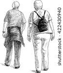 elderly spouses on a stroll | Shutterstock .eps vector #422430940