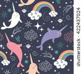 narwhal seamless  pattern  | Shutterstock .eps vector #422437024