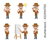 set of detective character in 6 ... | Shutterstock .eps vector #422454703