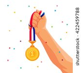 gold medal in hand. vector... | Shutterstock .eps vector #422459788