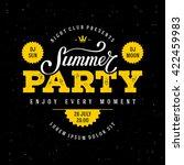 summer party lettering. flyer ... | Shutterstock .eps vector #422459983