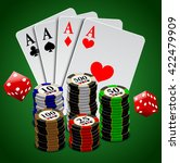 dice  cards and chips  poker... | Shutterstock .eps vector #422479909