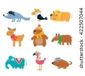 dressed animals set of cute... | Shutterstock .eps vector #422507044