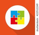 four piece flat puzzle round... | Shutterstock . vector #422512249