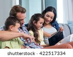 parents sitting with son and... | Shutterstock . vector #422517334