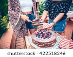 Woman Serving Chocolate Cake In ...