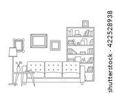 line interior of living room... | Shutterstock .eps vector #422528938