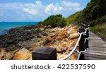 boardway along a rocky seaside... | Shutterstock . vector #422537590