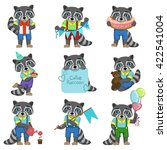 cute boy raccoon cartoon set of ... | Shutterstock .eps vector #422541004