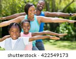 happy relaxing together at park | Shutterstock . vector #422549173