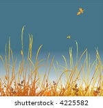 Autumn background. A grass and falling foliage. Vector - stock vector