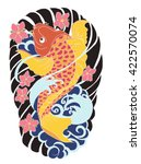 hand drawn koi fish tattoo | Shutterstock .eps vector #422570074
