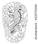 hand drawn koi fish tattoo | Shutterstock .eps vector #422570104