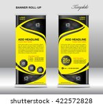 yellow roll up banner stand... | Shutterstock .eps vector #422572828