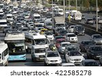 traffic jam at the highway in... | Shutterstock . vector #422585278