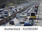 traffic jam at the highway in... | Shutterstock . vector #422585284