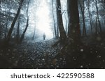 Man Silhouette On Eerie Forest...
