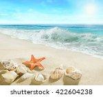 splashing waves on the beach. | Shutterstock . vector #422604238