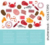 flat template with meat and... | Shutterstock .eps vector #422617390