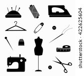 black   white set of sewing... | Shutterstock .eps vector #422625604