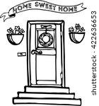 illustration of a front door... | Shutterstock .eps vector #422636653